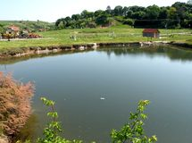 Natural lake in Ocna Sibiului, near Sibiu (Hermanstadt). Ocna Sibiului (German: Salzburg; Hungarian: Vízakna) is a town in the centre of Sibiu County, in Royalty Free Stock Photography