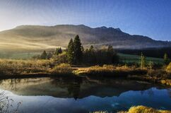 Natural Lake with Reflection of Mountains Royalty Free Stock Photo