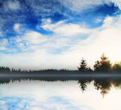 Natural Lake Scene with Trees and Cloudscape Royalty Free Stock Images