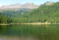 Little mountain lake with panorama on dolomites Madonna di Ca royalty free stock image