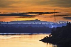 Natural landscap before dawn mekong river champasak laos Royalty Free Stock Image