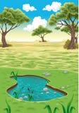 Natural landscape. Vector realistic illustration Stock Image