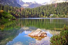 Natural landscape with alpine lake and forest. Slovakia royalty free stock images