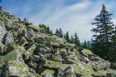 Natural landscape- alpine meadows Taganay. Natural landscape- mountain rocks, slopes of the Southern Urals. Alpine meadows in the national Park Taganay stock image