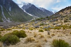 Natural landscape of aoraki - mt.cook national park in southland Stock Photo