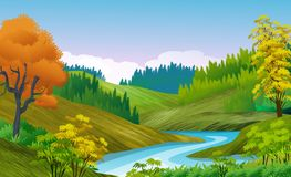 Free Natural Landscape Background With Hills Winding By A River, Pine Grove. Clouded Sky. Stock Image - 161257431