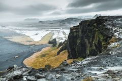 Natural landscape of Black Sand Beach. North Atlantic Ocean coast. Vik, Iceland Stock Photography