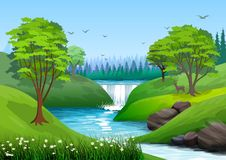 Natural landscape with blue sky, mountain, green hills, trees, pine forest in silhouette, river with waterfall and a little shade. Illustration Ideal for vector illustration
