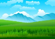 Natural landscape with blue sky, mountains and field with green grass. Vector illustration Royalty Free Stock Photography