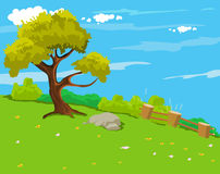 The natural landscape cartoon background Stock Photography