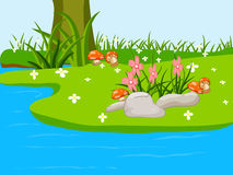 The natural landscape cartoon background Royalty Free Stock Photo