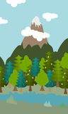 Natural landscape cartoon background  illustration Royalty Free Stock Image