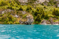 Natural landscape of the `catedrales de marmol` during the summer in the Chilean Patagonia, crossing the `carretera austral` road royalty free stock image