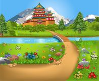 Natural landscape with a Chinese temple in the middle, a river and a bridge and a path. And lots of flowers all around Stock Images