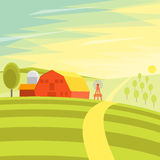 Natural Landscape Farm. Vector Royalty Free Stock Image