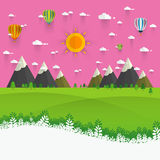 Natural landscape in the flat style. a beautiful park. Royalty Free Stock Image