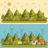 Natural landscape in the flat style. a beautiful park. Royalty Free Stock Images