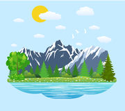 Natural landscape in the flat style. Royalty Free Stock Images