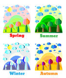 Natural landscape in flat style. Spring, Summer, Fall, Winter. Example for card, banner, badge Royalty Free Stock Photos
