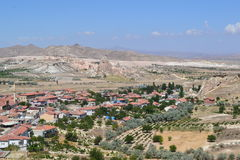 The natural landscape and houses of Cappadocia region Royalty Free Stock Photos