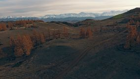 He nature of Siberia: a mountain valley, clear sky. Autumn. Natural landscape: mountainous terrain, mountainous snow-capped peaks in the distance on the horizon stock footage