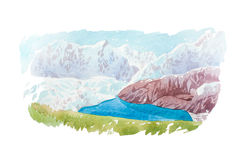 Natural landscape mountains and river watercolor illustration. Royalty Free Stock Images