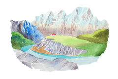 Natural landscape mountains and river watercolor illustration Royalty Free Stock Photography