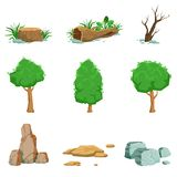 Natural Landscape Objects Set Of Detailed Icons Royalty Free Stock Images