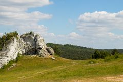Natural landscape in polish region of Jura. Forest, meadow and a big lime stone stock image