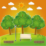 Natural landscape in pop up paper cut style. beautiful park.Environmentally friendly natural landscape Stock Photography