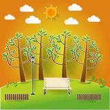Natural landscape in pop up paper cut style. beautiful park Stock Photography