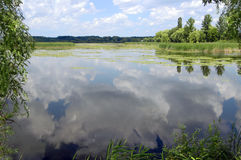 Natural landscape with river or lake, reflection, and cloudy sky Royalty Free Stock Photos