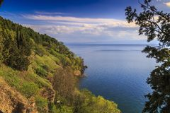Lake Ohrid, Macedonia. Natural landscape scene with clouds, Lake Ohrid, Macedonia Royalty Free Stock Photo