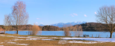 Natural landscape seehamer see, bavaria Royalty Free Stock Photos