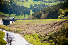Natural landscape with the truck Royalty Free Stock Image