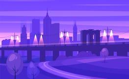 Natural landscape. Vector illustration. Night city landscape with bridge and road. Vector design illustration for web design development, natural landscape Stock Images