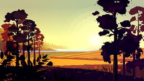 Natural landscape. Vector illustration for your design Royalty Free Stock Photo