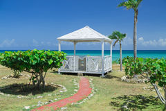 Natural landscape view with beautiful inviting gorgeous massage gazebo near the beach Stock Images