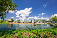 Natural landscape view and grounds of Ontario place park on sunny beautiful day Stock Photos