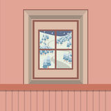 Natural Landscape View Through The Window Royalty Free Stock Photos