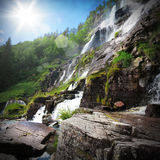 Natural landscape with waterfall Royalty Free Stock Photo
