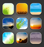 Natural landscapes for the app icons Royalty Free Stock Photography