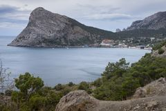 Natural landscapes of the Crimea peninsula, the beach of Novy Svet, travels in Crimea royalty free stock photo