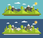 Natural landscapes. In a flat style on blue background Royalty Free Stock Photography