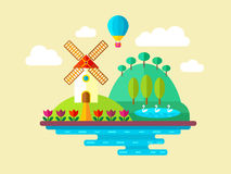 Natural landscapes in a flat style. Vector flat landscape with mill, lake and balloon Stock Images