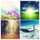 Natural landscapes. Four seasons collage, several images of beautiful natural landscapes at different time of the year - winter spring, summer, autumn Stock Image