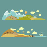 Natural landscapes. Landscapes from mountains to plains and from desert to sea Vector illustration Stock Image