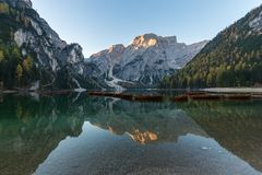 Free Natural Landscapes Of The Lake Braies Lago Di Braies With Morning Fog And Reflection Of The Mountain Peak In Dolomites, Italy Stock Images - 166453034