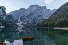 Free Natural Landscapes Of The Lake Braies Lago Di Braies With Morning Fog And Reflection Of The Mountain Peak In Dolomites, Italy Stock Photo - 166453070