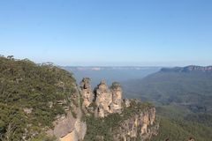 Blue Mountains Threes Sisters New South Wales, Australia. Natural landscapes of the Threes Sisters and View on the Blue Mountains Royalty Free Stock Photography